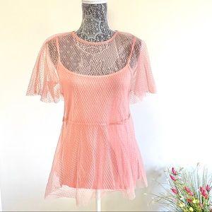 TopShop Sheer Pink Top🌷